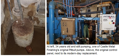 Pitbull industrial sump pump at Castle Metal Finishing